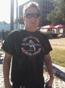 Mike Derks aka Balsac the Jaws of Death wearing a New Orleans Skee-ball and Drinking League t-shirt